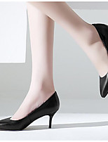 Women's Shoes Real Leather PU Spring Fall Basic Pump Heels Stiletto Heel For Casual Gray Black
