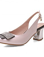 Women's Shoes Leatherette Spring Winter Comfort Novelty Heels Chunky Heel Round Toe Rhinestone For Casual Office & Career Blushing Pink