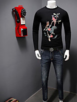 Men's Casual/Daily Simple Regular Pullover,Print Round Neck Long Sleeves Cotton Fall Medium Micro-elastic