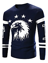 Men's Casual/Daily Simple Regular Pullover,Print Round Neck Long Sleeves Others Fall Winter Thick Stretchy