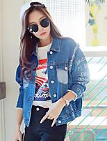 Women's Casual/Daily Simple Fall Denim Jacket,Letter Shirt Collar Long Sleeve Regular Cotton