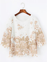 Women's Daily Fall T-shirt,Floral Round Neck 3/4 Length Sleeves Cotton Thin