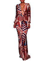 Women's Party Plus Size Sexy Vintage Bodycon Dress,Print Deep V Maxi Long Sleeves Polyester Spring Fall High Rise Micro-elastic Medium