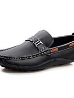 Hombre Zapatos Cuero Primavera Otoño Suelas con luz Zapatos de taco bajo y Slip-On Para Casual Negro Marrón Azul