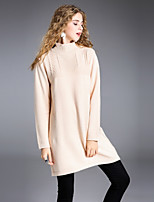 8CFAMILY Women's Holiday Going out Simple A Line Dress,Solid Turtleneck Above Knee Long Sleeves Wool Rayon Polyester Winter Mid Rise Stretchy