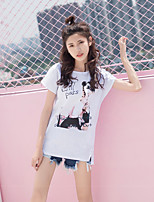 Women's Daily Cute T-shirt,Print Round Neck Short Sleeves Cotton