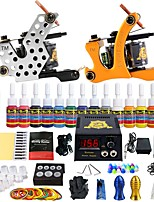 Starter Tattoo Kit LED power supply 14 x 5ml Tattoo Ink 2 x aluminum grip Complete Kit