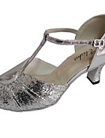 Women's Latin Sparkling Glitter Leather Sandal Indoor Customized Heel Silver Blue Silver/Black