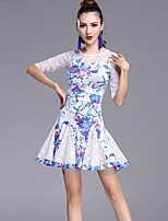 Latin Dance Dresses Women's Performance Lace Milk Fiber Lace Pattern/Print Half Sleeve Dress