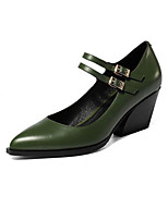 Women's Shoes Cowhide Nappa Leather Spring Fall Basic Pump Heels Chunky Heel For Casual Army Green Black