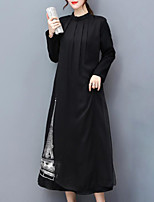 Women's Plus Size Going out Simple Loose Dress,Print Round Neck Midi Long Sleeves Rayon Fall Mid Rise Inelastic Medium