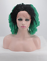 Women Synthetic Wig Lace Front Short Kinky Curly Black/Dark Green Dark Roots Party Wig Halloween Wig Carnival Wig Natural Wigs Costume Wig