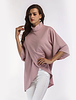 Women's Daily Holiday Casual Street chic Spring Fall T-shirt,Solid Stand ¾ Sleeve Polyester