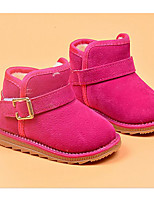 Girls' Shoes Suede Winter Snow Boots Fluff Lining Boots For Casual Black Peach Brown