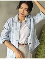 Giacca di jeans Da donna Casual Semplice Autunno,Tinta unita Colletto Cotone Altro Standard Manica lunga