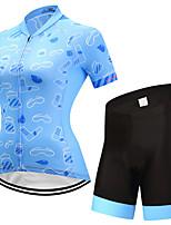 FUALRNY® Camisa com Shorts para Ciclismo Mulheres Manga Curta Moto Conjuntos de Roupas Lista Reflectora Secagem Rápida Respirabilidade