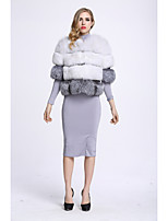 BF-Fur Style Women's Casual/Daily Sophisticated Fall Winter Fur Coat,Color Block Round Neck ¾ Sleeve Short Fox Fur