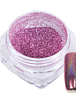 1g/Bottle Sweet Pink Decoration Nail Art Rainbow Glitter Powder Mirror Shining Effect