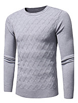 cheap -Men's Daily Casual Print Geometric Round Neck Sweater Pullover, Long Sleeves Spring Fall Polyester Nylon