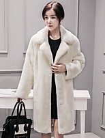 Women's Party Holiday Sexy Sophisticated Winter Fall Down,Solid Print Square Neck Regular Others Fur Trim