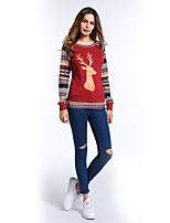 Women's Daily Holiday Street chic Fall T-shirt,Print Round Neck Long Sleeves Polyester