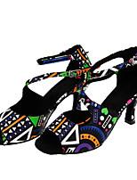 Women's Latin Flocking Fabric Sandal Performance Buckle Pattern/Print Flared Heel Black 1