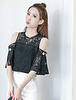 Women's Holiday Going out Cute Sophisticated Summer T-shirt,Solid Crew Neck Half Sleeves Others Medium