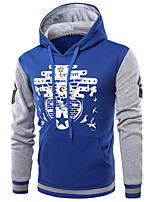 Men's Daily Hoodie Print Hooded Micro-elastic Cotton Acrylic Long Sleeve Winter Fall