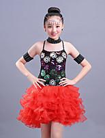 devons-nous latin danse robes enfants performance spandex paillette sans manches robes hautes