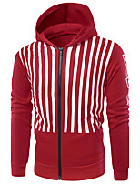 Men's Daily Sports Hoodie Striped Print Hooded Micro-elastic Cotton Long Sleeve Winter Fall