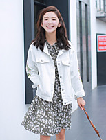 Women's Going out Simple Casual Spring Fall Denim Jacket,Solid Peaked Lapel Long Sleeve Regular Cotton Spandex