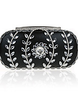 Women Bags All Seasons Polyester Evening Bag Crystal Detailing for Wedding Event/Party Black Silver Red Purple Fuchsia