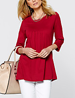 Women's Daily Going out Casual Street chic Spring Fall T-shirt,Solid Round Neck Long Sleeves Polyester Medium
