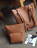 Women Bags All Seasons PU Bag Set Flower(s) for Casual Red Blushing Pink Dark Gray Light Gray Brown
