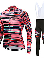 FUALRNY® Cycling Jersey with Bib Tights Men's Long Sleeves Bike Clothing Suits High Elasticity Fleece Winter Cycling/Bike Red