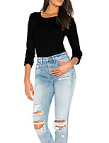 Women's Daily Going out Cute Sexy Winter Fall T-shirt,Solid Round Neck Long Sleeves Polyester Medium
