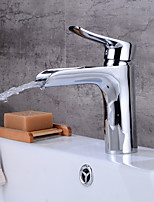 Centerset Waterfall Ceramic Valve Single Handle One Hole Electroplated , Bathroom Sink Faucet