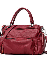 Women Bags All Seasons PU Tote Zipper for Casual Office & Career Blue Black Red Gray Purple