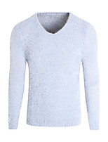 Men's Casual/Daily Regular Pullover,Solid V Neck Long Sleeves Polyester Winter Medium Micro-elastic