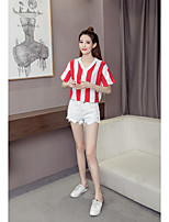 Women's Daily Going out Casual Summer T-shirt,Striped V Neck Short Sleeves Others Medium