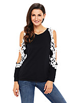 Women's Daily Going out Sexy Fall T-shirt,Print Round Neck Long Sleeves Polyester Spandex Medium