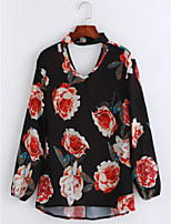 Women's Daily Chinoiserie Sophisticated Fall Blouse,Floral V Neck Long Sleeves Polyester Thin