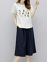 Women's Casual/Daily Simple Summer T-shirt Skirt Suits,Pattern Round Neck Short Sleeve Micro-elastic