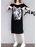 Tee-shirt Femme,Imprimé Décontracté / Quotidien simple Manches Courtes Epaules Dénudées Coton