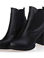 Women's Shoes PU Fall Winter Fashion Boots Combat Boots Boots Mid-Calf Boots For Casual Burgundy Black
