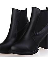 Mujer Zapatos PU Otoño Invierno Botas de Moda Botas de Combate Botas Mitad de Gemelo Para Casual Negro Borgoña
