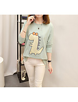 Women's Daily Work Cute Casual Sophisticated Winter Fall T-shirt,Solid Embroidery Round Neck Long Sleeves Cotton Rayon Polyester Medium