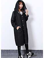 Women's Casual/Daily Active Winter Denim Jacket,Solid Hooded Long Sleeve Long Nylon