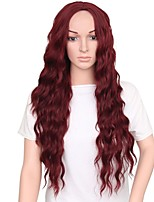 Women Synthetic Wig Capless Long Burgundy Middle Part Natural Wigs Costume Wig