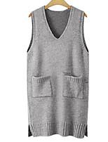 Men's Beach Regular Vest,Solid V Neck Sleeveless Others Spring Summer Medium Micro-elastic